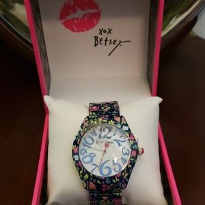 Betsey Johnson allover printed multi navy watch